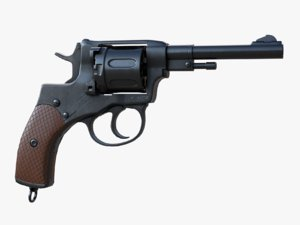 3D nagant m1895 revolver
