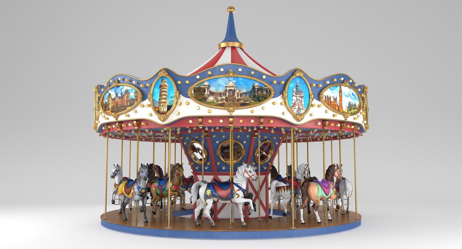 3D carousel carrousel ride model