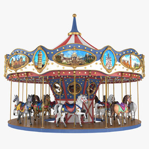 3D carousel carrousel ride model