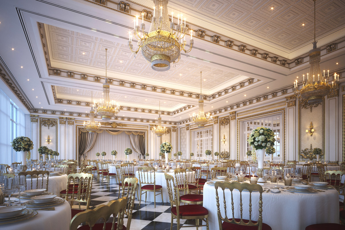 classical scene luxury wedding 3D model