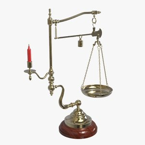 3D antique balance scales model