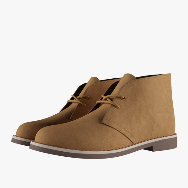 leather chukka boots beige 3D model