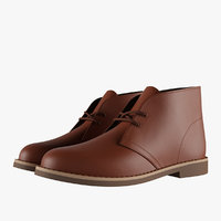 leather chukka boots brown 3D model