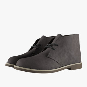 3D model suede chukka boots gray