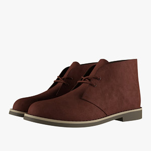 suede chukka boots brown 3D model