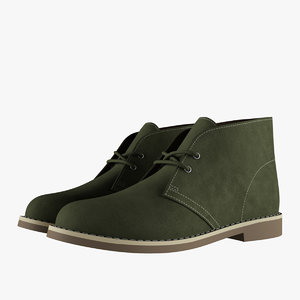 suede chukka boots green 3D