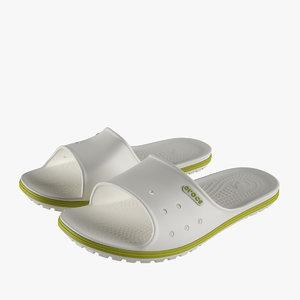 3D crocs crocband slide white