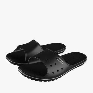 3D model crocs crocband slide black