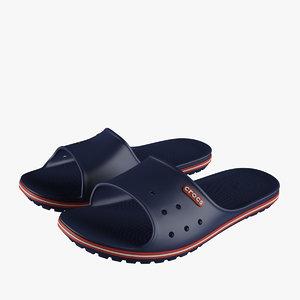 crocs crocband slide blue 3D model