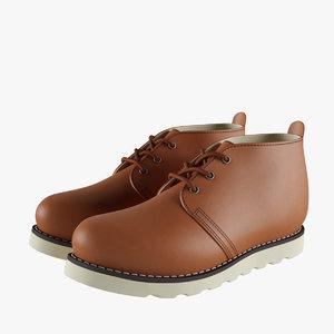 3D chukka work boots model