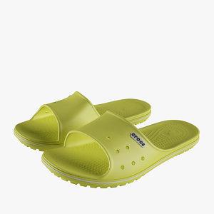 3D crocs crocband slide yellow model