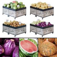 3D model display racks vegetables fruits