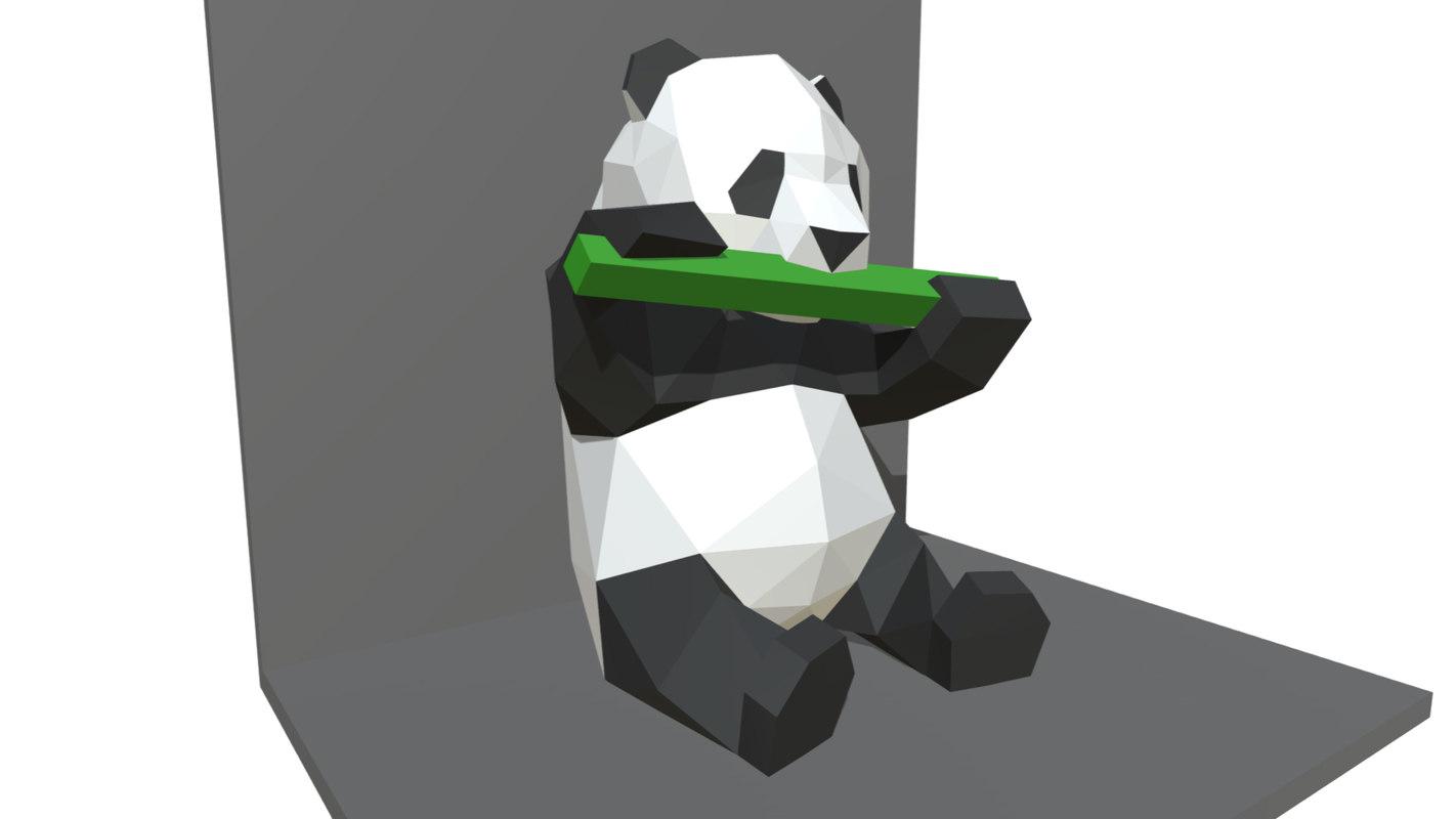 printed panda figure 3D model