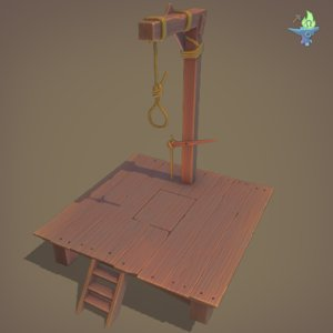 3D medieval gallows model
