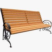 classic garden bench 3D model