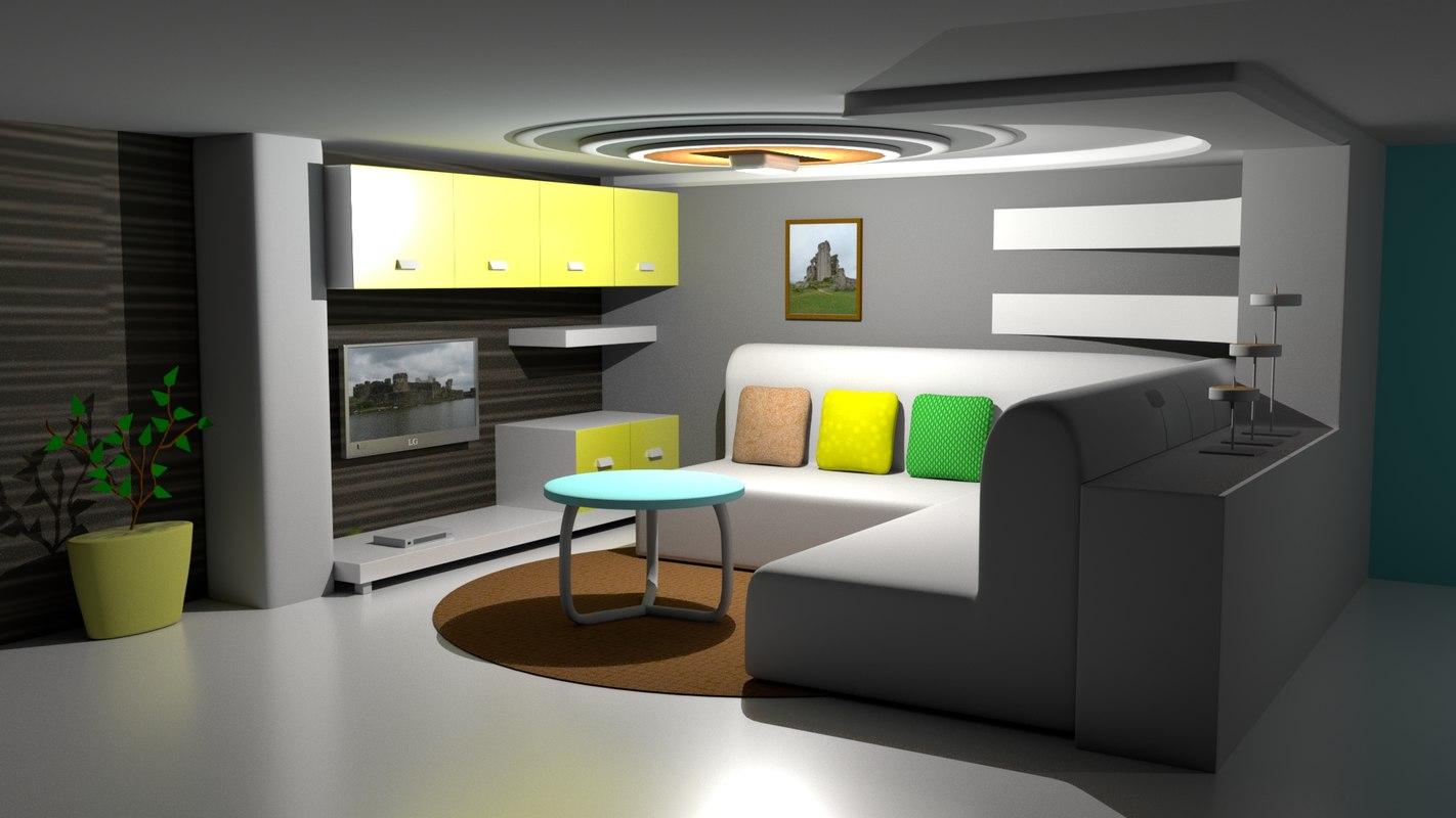 interior hall render 3D