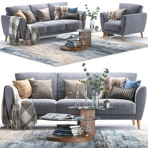 pohjanmaan aria armchair sofa 3D