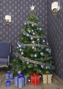 christmas tree blue 3D model