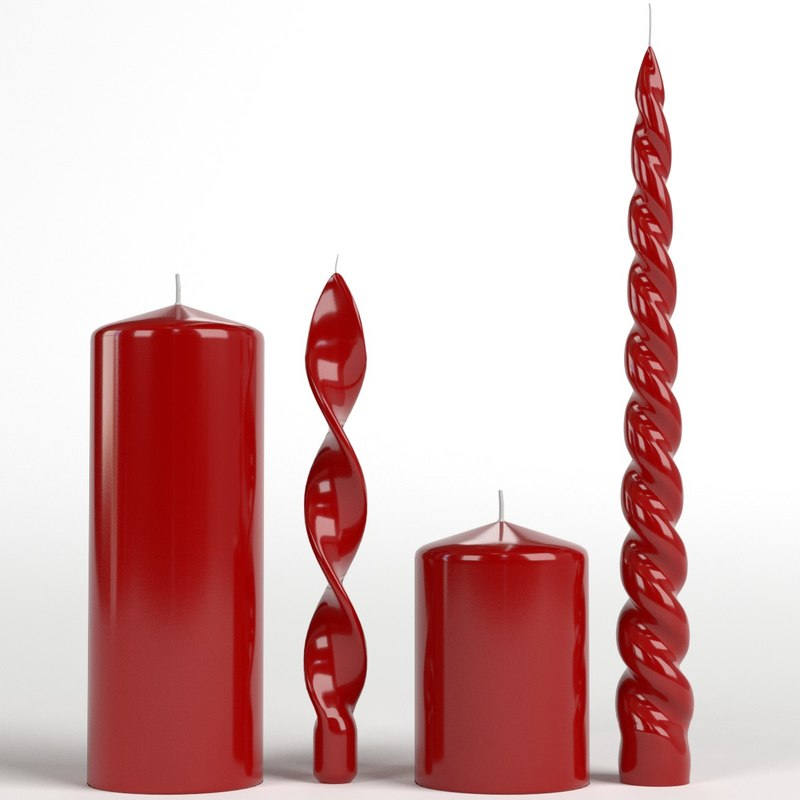 3D red candles model