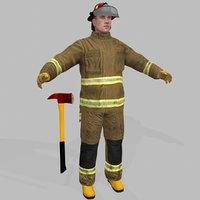 firefighter ready man 3D