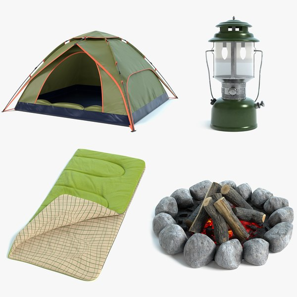camping tent lantern campfire model