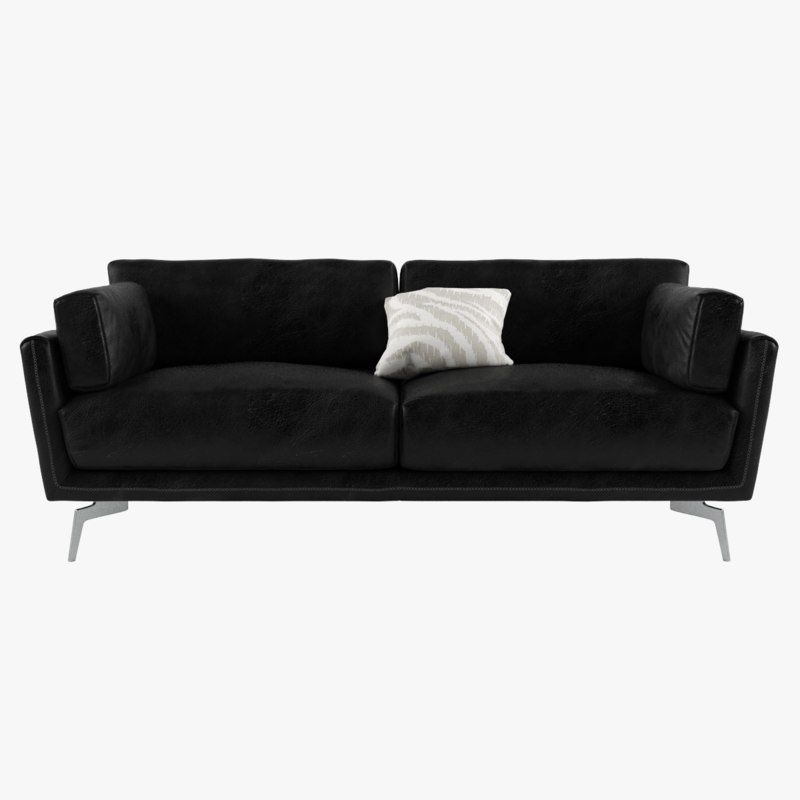 3D black sofa leather model