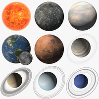 3D planets solar sun earth moon