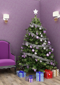 christmas tree purple 3D model