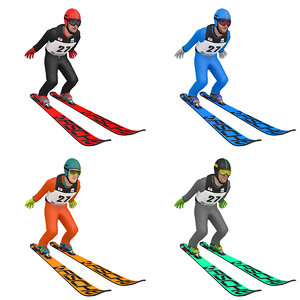 pack rigged ski jumper model