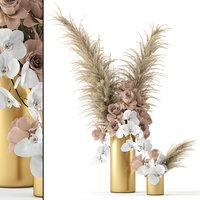 realistic vases roses brass 3D model