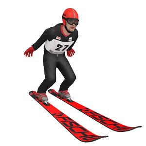 3D model rigged ski jumper