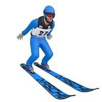 3D rigged ski jumper