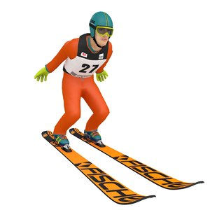 3D rigged ski jumper model