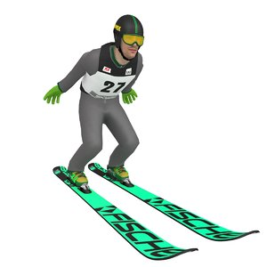 rigged ski jumper 3D model