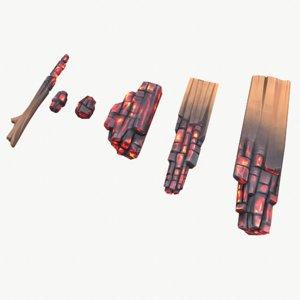 stylized charred firewood model