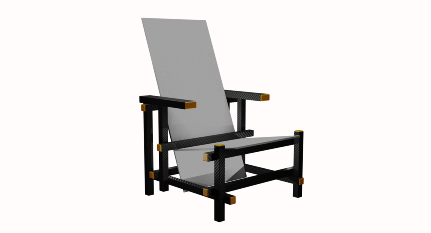 chair piet mondrian 3D model