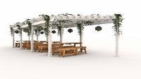 Tent and wooden patio pergola