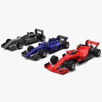pack 3 formula race cars model