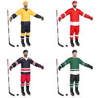 3D pack hockey player model