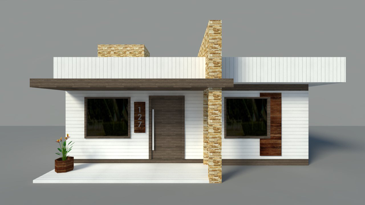 Maison moderne - Intérieur - Low Poly