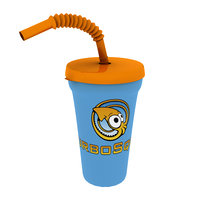 3D model cup straw