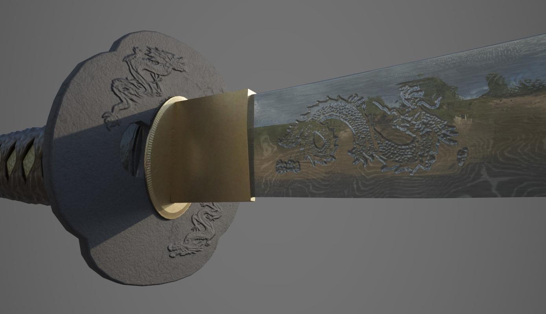 katana samurai sword 3D