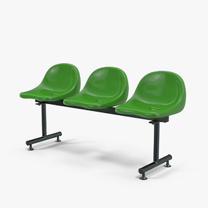 3D model plastic chairs row 3