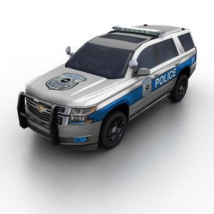 3d model of 2015 chevrolet tahoe police suv