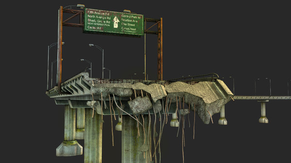 broken bridge 3D model