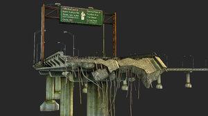 broken bridge 3D model