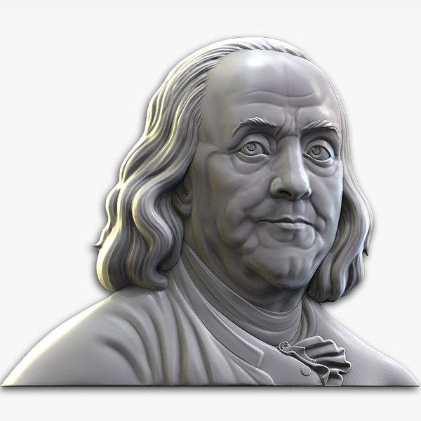 3D model benjamin franklin bas relief