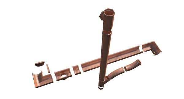 pbr copper gutter 3D model