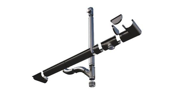 3D pbr aluminium gutter model
