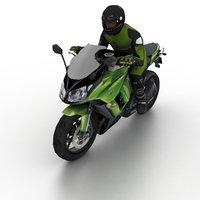 Kawasaki Ninja 1000 2012 with biker